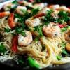 Креветки скампи зі спагеті