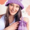 Лілова капелюшок і сумочка